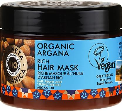 Masque naturel à l'huile d'argan bio pour cheveux - Planeta Organica Organic Argana Rich Hair Mask