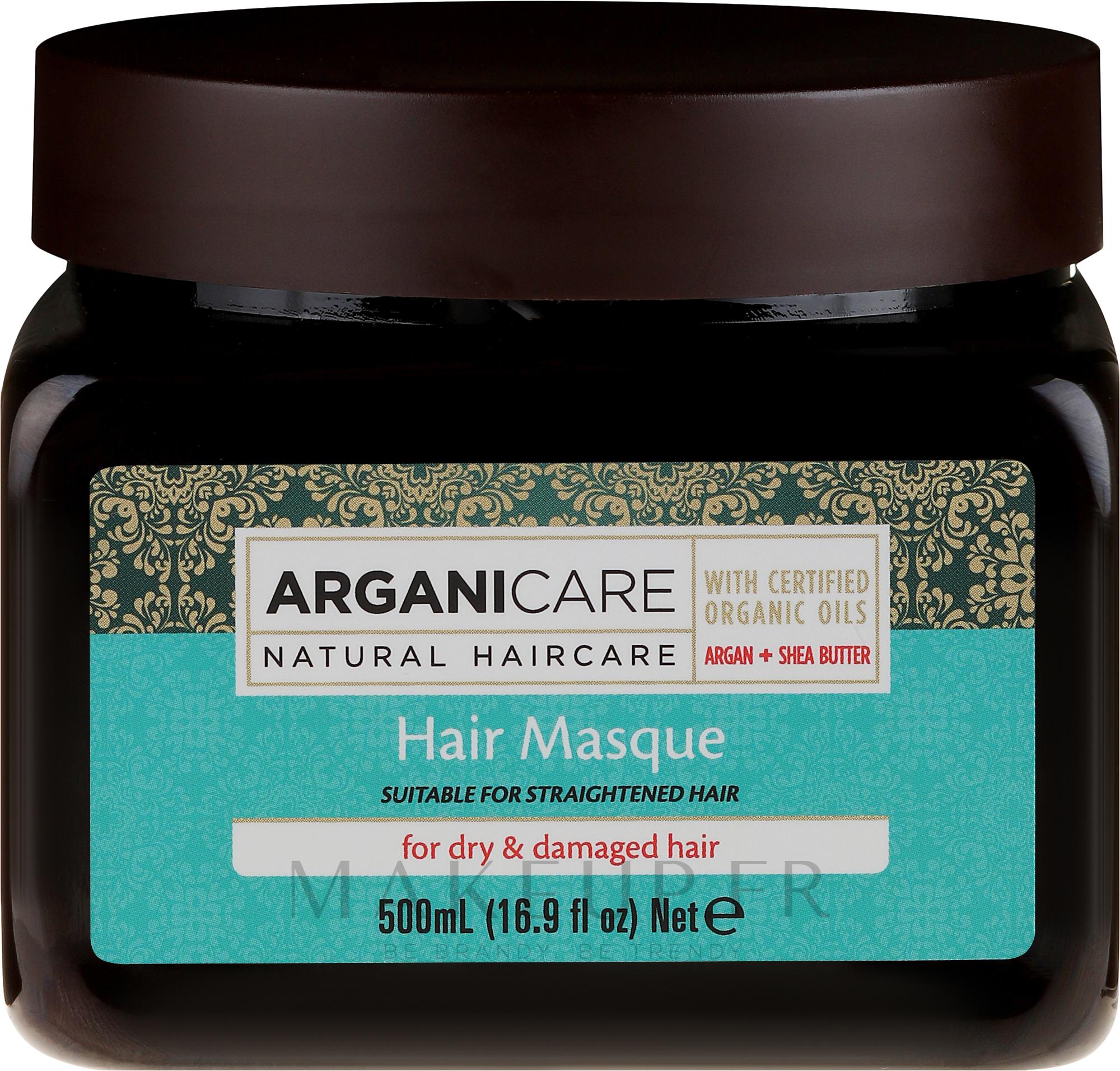 Masque à l'huile d'argan et beurre de karité bio pour cheveux - Arganicare Shea Butter Hair Masque for Dry Damaged Hair — Photo 500 ml