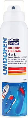 Spray actif 4 en 1 pour pieds et chaussures - Undofen Active Foot Spray 4in1