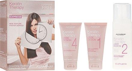Alfaparf Milano Lisse Design Keratin Therapy - Set soin cheveux Traitement à la kératine(shampooing/40ml + liquide lissant/100ml + masque/40ml)