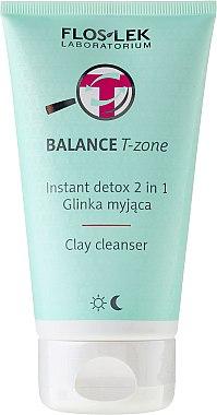 Emulsion et masque nettoyant pour peaux mixtes - Floslek Balance T-zone Instant Detox 2in1 Clay Cleanser