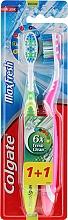 Parfums et Produits cosmétiques Brosses à dents, 2 pcs, médium, vert et rose - Colgate Max Fresh Medium