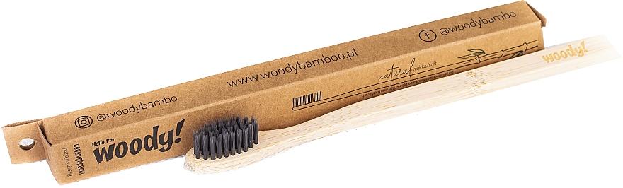 Brosse à dents en bambou souple, noir - WoodyBamboo Bamboo Toothbrush Natural — Photo N1