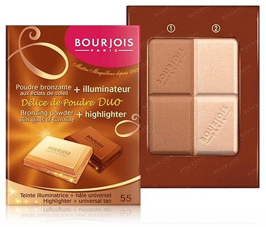 Duo poudre bronzante et illuminateur compact - Bourjois Delice De Poudre Bronzing Duo Powder + Highlighter — Photo N2