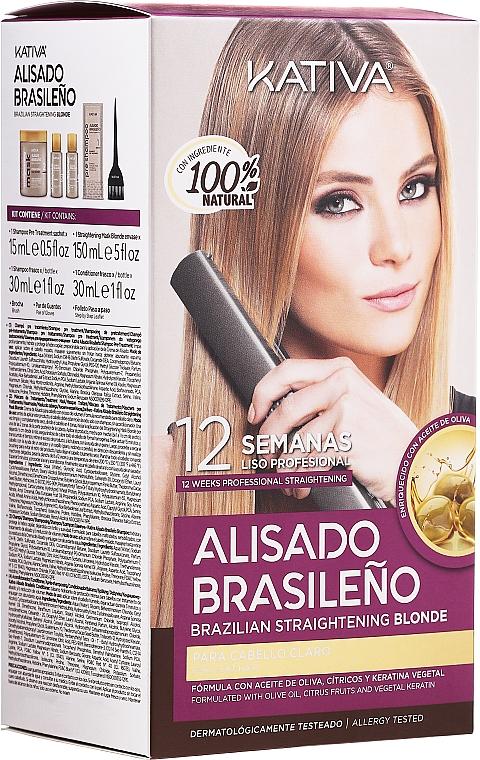Kativa Alisado Brasileno Straighten Blonde - Kit de lissage pour cheveux blonds