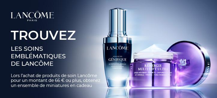 Lors de l'achat de produits de soin Lancôme pour un montant de 66 € ou plus, obtenez un ensemble de miniatures en cadeau