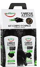Parfums et Produits cosmétiques Coffret - Equilibra Active Charcoal Detox Bio Box (gel douche/250ml + shampooing/250ml + éponge de bain/1 unité)