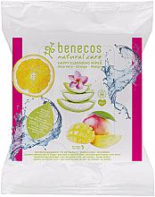 Parfums et Produits cosmétiques Lingettes nettoyantes, Orange, Mangue et Aloe vera - Benecos Natural Care Happy Cleansing Wipes