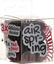 Parfums et Produits cosmétiques Élastiques à cheveux, marron + rouge, 4 pcs - Hair Springs