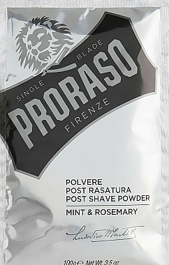 Proraso Mint & Rosemary Post Shave Powder - Poudre après-rasage, menthe et romarin