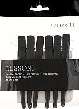 Parfums et Produits cosmétiques Pinces sépare-mèches en carbone revêtement en cautchouc, noires, 6pcs - Lussoni