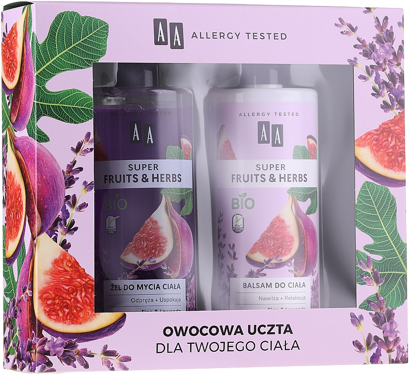 AA Super Fruits&Herbs - Set (gel douche/500ml + pour le corps/500ml)