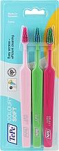 Parfums et Produits cosmétiques Brosses à dents, 3 pcs, rose + vert clair + rose clair - TePe Colour Soft