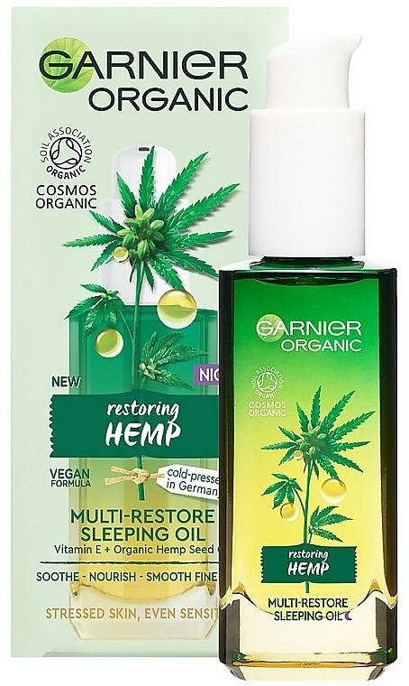 Huile réparatrice à la vitamine E et huile de chanvre pour visage - Garnier Bio Multi-Repair Sleeping Oil