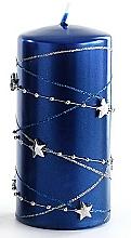 Parfums et Produits cosmétiques Bougie décorative, bleu foncé, 7x10 cm - Artman Christmas Garland