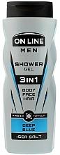 Parfums et Produits cosmétiques Gel douche au sel marin pour visage, corps et cheveux - On Line Men 3in1 Deep Blue