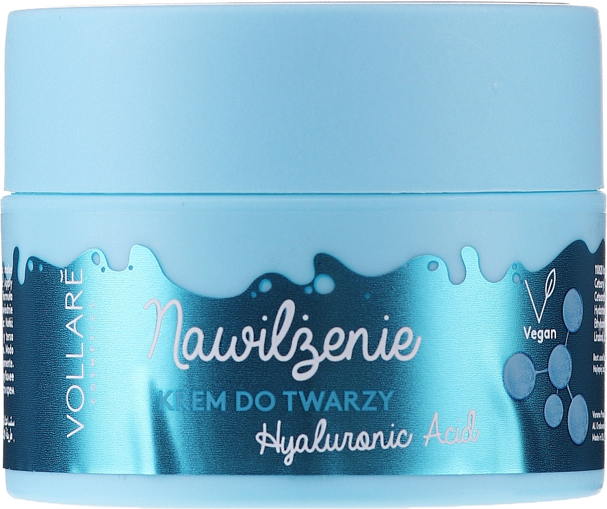 Crème à l'acide hyaluronique pour visage - Vollare Hyaluronic Acid Moisturizing Face Cream