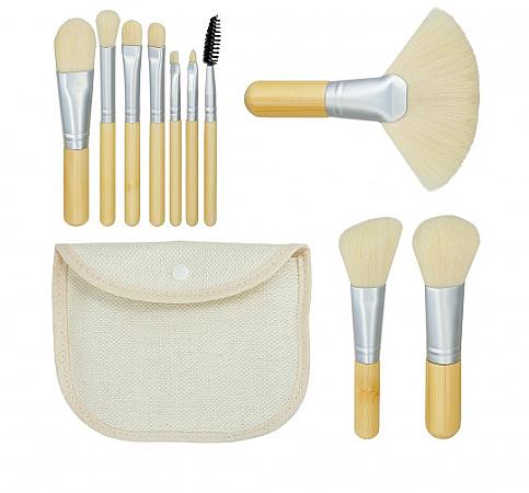 Kit pinceaux de maquillage et trousse de toilette Bamboo White, 10 pcs - Tools For Beauty
