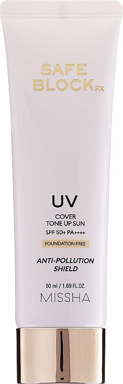 Crème solaire couvrante et anti-pollution pour visage - Missha Safe Block RX Cover Tone Up Sun SPF50+ — Photo N1