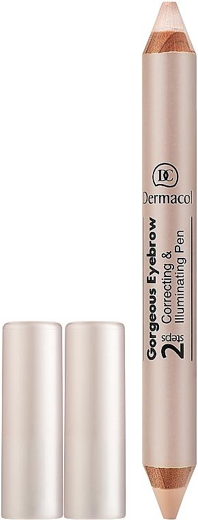 Crayon sourcils duo correcteur et illuminateur - Dermacol Gorgeous Eyebrow Correcting Illuminating Pen