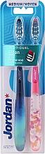 Parfums et Produits cosmétiques Brosses à dents, médium, bleu, rose - Jordan Individual Clean Medium