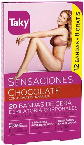 Bandes de cire au chocolat pour corps - Taky Chocolate Body Wax Strips With Orange Fragrance Box