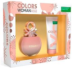 Parfums et Produits cosmétiques Benetton Colors De Benetton Rose - Set (eau de toilette/80ml + lotion corporelle/75ml)