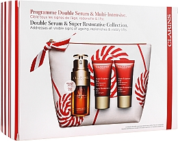 Coffret cadeau - Clarins Double Serum & Super Restorative (ser/30ml + cr/15ml + n/cr/15ml + bag) — Photo N1