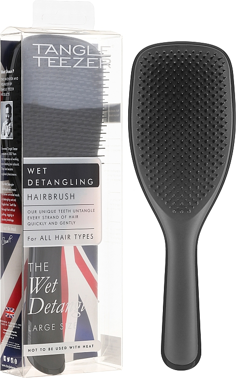 Brosse à cheveux démêlante, noir - Tangle Teezer The Wet Detangler Black Gloss Large Size Hairbrush