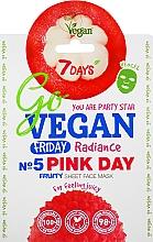 Parfums et Produits cosmétiques Masque tissu à l'extrait de grenade pour visage - 7 Days Go Vegan Friday Pink Day