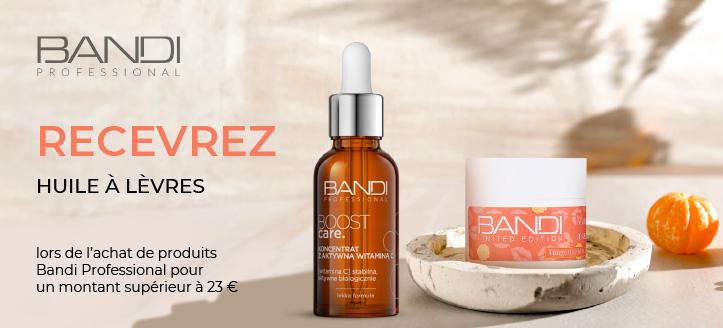 Lors de l'achat de produits Bandi Professional pour un montant supérieur à 23 €, vous recevez une huile à lèvres en cadeau