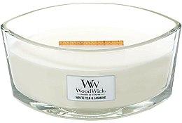 Parfums et Produits cosmétiques Bougie parfumée ellipse avec mèche en bois Thé blanc et jasmin - WoodWick Hearthwick Flame Ellipse Candle White Tea & Jasmine