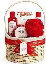 Parfums et Produits cosmétiques Coffret cadeau - IDC Institute Vintage Fruits (sh/g/160ml+b/lot/160ml+b/scrub/110ml+salt/100g+sponge+basket)