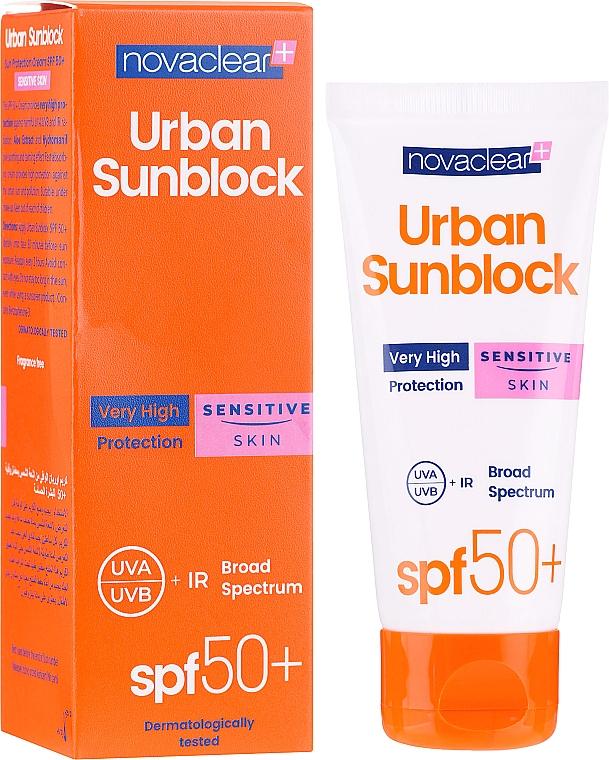Crème solaire à l'extrait d'aloe vera pour visage - Novaclear Urban Sunblock Protective Cream Sensitive Skin SPF50