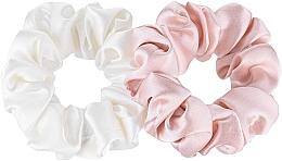 Parfums et Produits cosmétiques Lot de 2 Chouchou en soie naturelle - Makeup Scrunchie Set Milk Powder