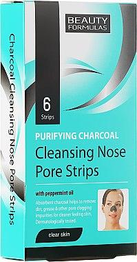 Patchs au charbon actif et huile de menthe poivrée pour nez - Beauty Formulas Purifying Charcoal Deep Cleansing Nose Pore