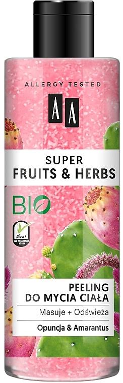 Gommage bio pour corps, Figue de barbarie et Amarante - AA Super Fruits & Herbs