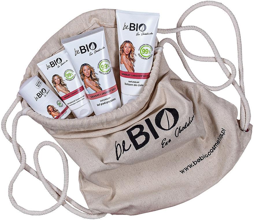 Coffret cadeau avec sac à dos écologique - BeBio Pomegranate And Goji Berries Set (gel douche/200ml + lotion corps/200ml + roll-on/50ml + crème mains/75ml) — Photo N1