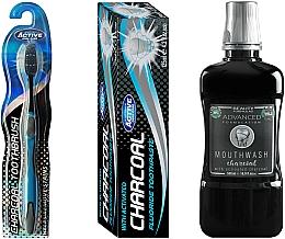 Parfums et Produits cosmétiques Set - Beauty Formulas Charcoal (mouthwash/500ml + toothbrush/1pcs + toothpaste/125g)