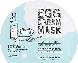 Parfums et Produits cosmétiques Masque tissu à l'extrait de blanc d'œuf pour visage - Too Cool For School Egg Cream Mask Pore Tightening