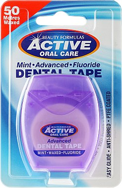 Fil dentaire ciré goût menthe, 50m - Beauty Formulas Active Oral Care Advanced Mint Waxed Fluor 50 m