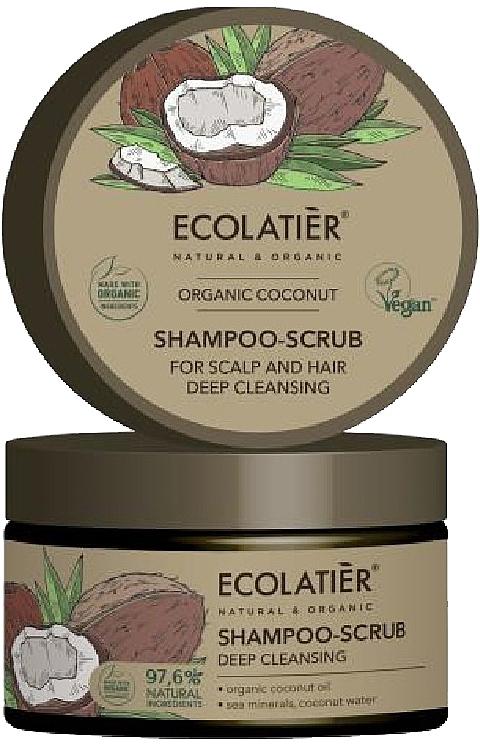 Shampooing-gommage à l'huile de noix de coco pour cheveux et cuir chevelu - Ecolatier Organic Coconut Shampoo-Scrub