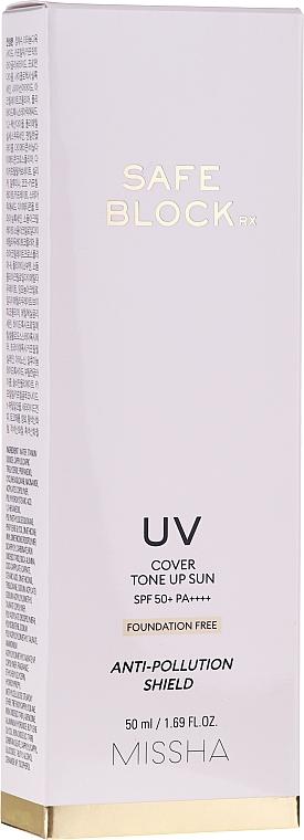 Crème solaire couvrante et anti-pollution pour visage - Missha Safe Block RX Cover Tone Up Sun SPF50+ — Photo N2