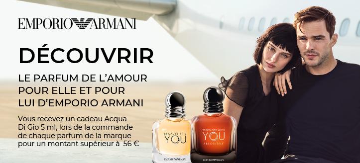 Lors de l'achat d'un parfum de la marque Giorgio Armani pour un montant de 56 € ou plus, vous recevrez Acqua Di Gio 5 ml en cadeau