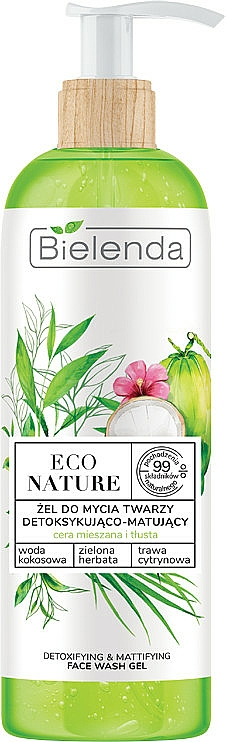 Gel nettoyant pour visage - Bielenda Eco Nature Coconut Water Green Tea & Lemongrass Detox & Mattifyng Face Wash Gel