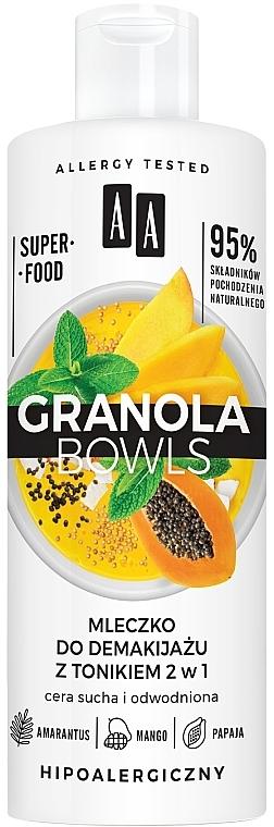 Lait démaquillant et tonique à la papaye et mangue - AA Granola Bowls Makeup Remover Milk And Tonic 2 in 1