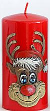 Parfums et Produits cosmétiques Bougie décorative Rudolphe, rouge, 7x10cm - Artman Christmas Candle Rudolf
