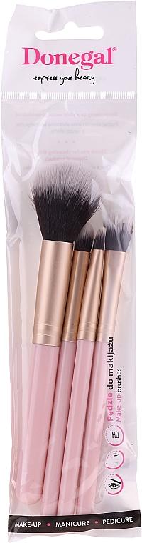 Kit pinceaux de maquillage, 4pcs, rose - Donegal