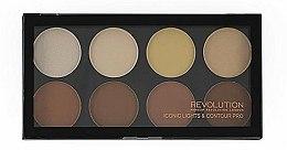 Parfums et Produits cosmétiques Palette contouring visage, 8 teintes - Makeup Revolution Iconic Lights & Contour Pro