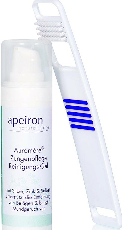 Apeiron Auromere - Set (gel nettoyant pour langue/30ml + nettoyant pour langue/1pcs) — Photo N1